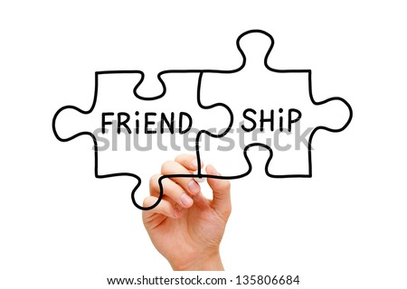 Hand Drawing Friendship Puzzle Concept Black Stock Photo Edit Now