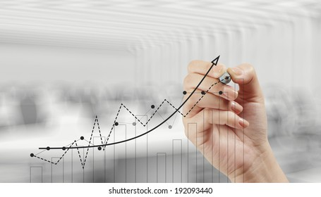 hand drawing graph chart and business strategy as concept