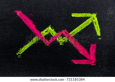 Hand drawing of green and red chalk in up and down arrow shape on black board background