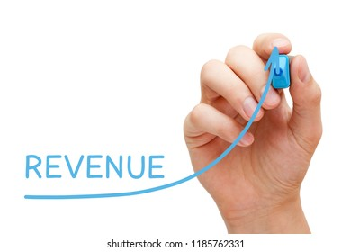 Hand drawing growing Revenue graph with blue marker on transparent wipe board.