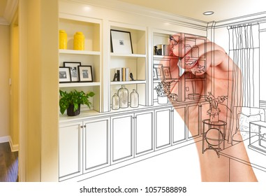 Hand Drawing Home Built-in Shelves and Cabinets with Photo Cross Section Showing.