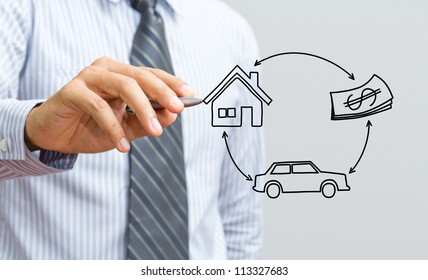 Hand drawing home, car and money