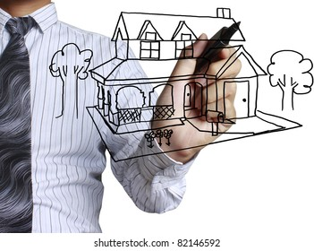 hand drawing house in a whiteboard