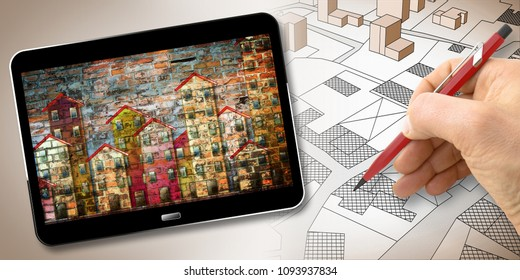 Hand drawing an imaginary cadastral map of territory with buildings, fields, roads and land parcel - Building activity concept image with 3D render of a digital tablet