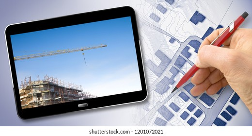 Hand drawing an imaginary cadastral map of territory with buildings, fields, roads and land parcel - Concept image with 3D render of a digital tablet and building construction site