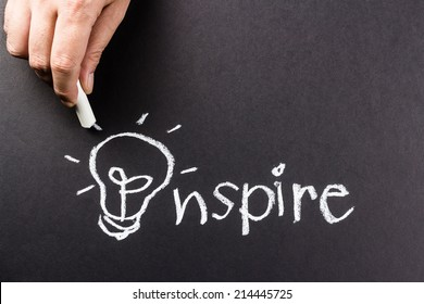 Hand drawing light bulb as symbol of Inspire word
