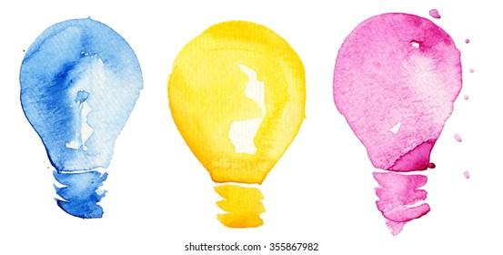 Hand drawing light bulb with watercolor splashes. Concept or creative thinking and unique ideas.