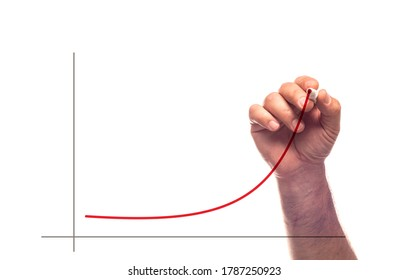 A hand drawing a line chart in upward trend with red marker with an illusion of writing on glass.