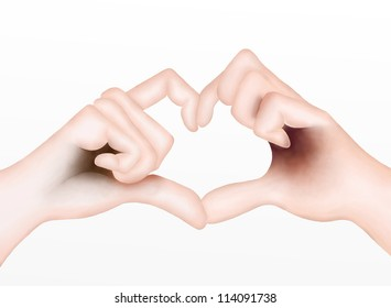Hand Drawing, Lover Showing Body Languages for Love Signals by Hand Heart, Isolated on White Background