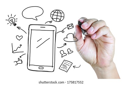 hand drawing mobile phone with social media concept
