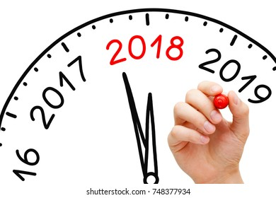 Hand drawing New Year 2018 clock concept with marker on transparent wipe board.