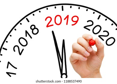 Hand drawing New Year 2019 clock concept with marker on transparent wipe board.