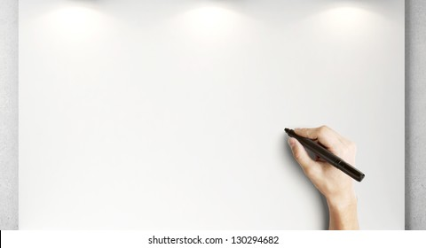 hand drawing on blank poster