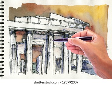 Hand drawing and painting watercolor  illustration of  Acropolis in Athens, Greece on sketch book