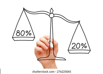 Hand drawing Pareto Principle scale concept with black marker on transparent wipe board isolated on white.