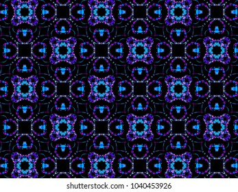A hand drawing pattern made of blue fuchsia and purple on a black background.