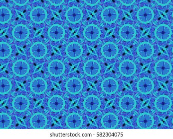 A hand drawing pattern made of blue tones with black.