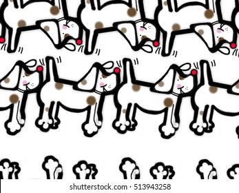 An hand drawing of a pattern made of dogs on a white background.