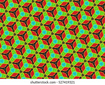 An hand drawing of a pattern made of green and red on a black background.