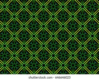 A hand drawing pattern made of green and yellow on a black background.