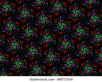 A hand drawing pattern made of red, green and purple on a black background.