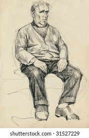 hand drawing picture, man on the chair, pen and ink technique