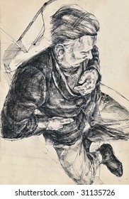 hand drawing picture, pen and ink, sleeping man