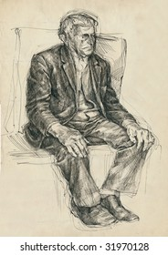 hand drawing picture, pen and ink, sitting man