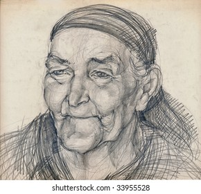 hand drawing picture, pencil technique, old woman as indian