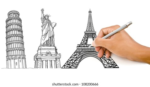 Hand drawing Pisa Tower, Eiffel Tower and Statue of Liberty line for construction.