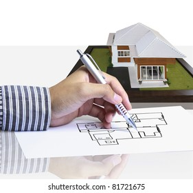 Hand, drawing plan house