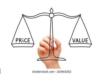 Hand drawing Price Value balance scale concept with black marker on transparent wipe board isolated on white.
