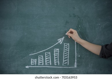 Hand drawing results graph with white chalk on blackboard