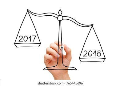Hand drawing scale concept with marker on transparent wipe board isolated on white. Year 2018 is better than 2017.