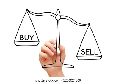 Hand drawing Sell or Buy scale concept with marker on transparent wipe board isolated on white.