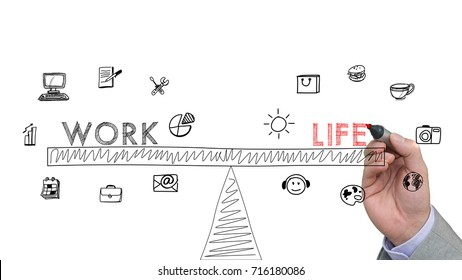 Hand is drawing a sketch of a work life balance concept with icons on white