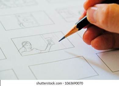 hand drawing storyboard idea