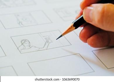 hand drawing storyboard idea