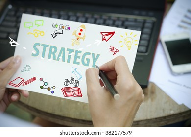 hand drawing STRATEGY concept on white notebook , business concept , business idea
