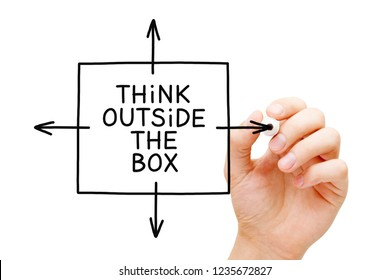 Hand drawing Think Outside The Box concept with black marker on transparent glass board isolated on white.