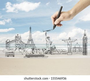 hand drawing traveling concept on nature backgrounds