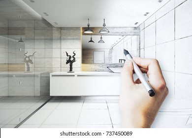 Hand drawing unfinished modern bathroom interior project with refelctions on wall. Engineering concept. 3D Rendering