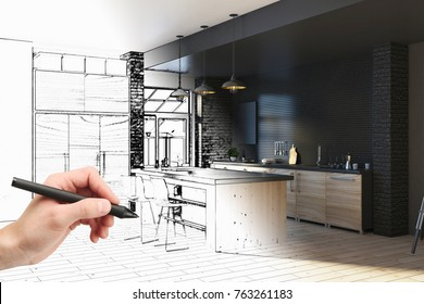 Hand drawing unfinished project of modern kitchen interior. Engineering and architecture concept. 3D Rendering