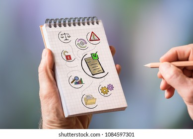 Hand drawing validation concept on a notepad