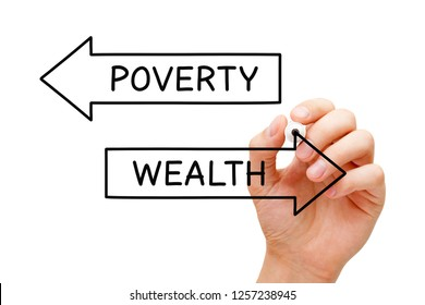 Hand drawing Wealth or Poverty arrows concept with marker on transparent wipe board.