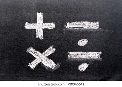 Hand drawing of white chalk in mathematics symbol shape (Plus, minus, multiply, divide) on black board background