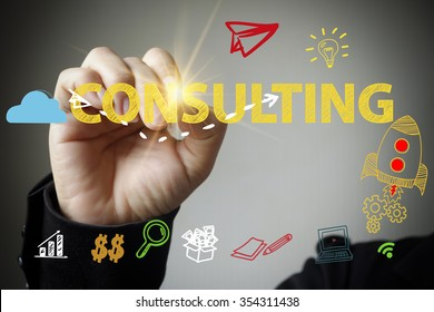 hand drawing and writing CONSULTING , business concept , business idea