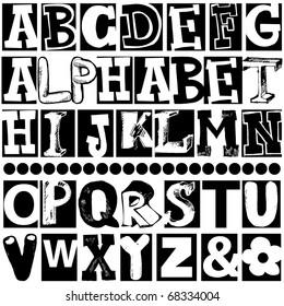hand drawn alphabet isolated on white background