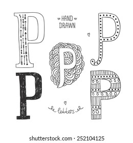 Hand drawn alphabet, letter p. Doodle letters set isolated on white background