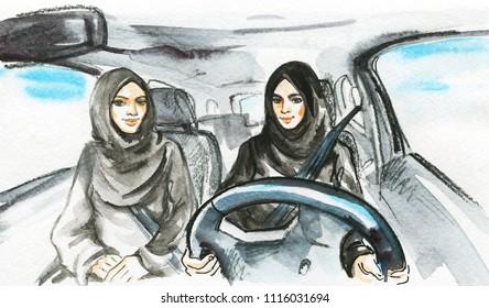 Hand drawn arabian woman drive a car. Watercolor portrait of modern and free muslim ladies. Sketching feminist illustration